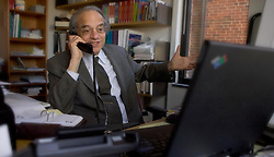 Jeremy Siegel a Professor at the University of Pennsylvania's Wharton School speaks on a conference call in his office Wednesday, April 13, 2005.(Photograph by Jim Graham)