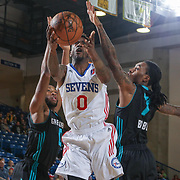 Delaware 87ers Guard RUSS SMITH (0) drives towards the basket as Greensboro Swarm Guard Cat Barber (7) defends in the first half of an NBA D-league regular season game between the Delaware 87ers and the Greensboro Swarm (Charlotte Hornets) Wednesday, March 29, 2017, at The Bob Carpenter Sports Convocation Center in Newark, DEL