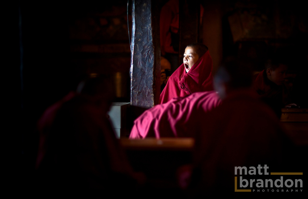 I shot this image in September 2009 at a monastery in Thiksey while <br /> leading a Lumen Dei photography workshop in Leh, Ladakh, India. This is one of those pictures that proves people are the same everywhere. Here, a small monk is trying to wake up during early morning puja or devotions. He's doing his best to stay awake but finds it almost impossible. What little boy at the same age wouldn't be fighting to stay awake, whether he is in a monastery in the Ladakh or at church in Texas or in a mosque in Lebanon. This boy could be any boy. I think this is what makes this photo work, it's real, it's a moment we all relate with.