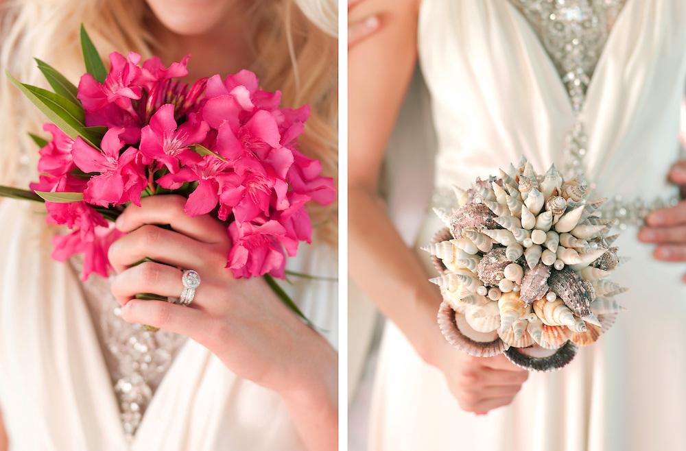 Wedding Bouquets made of Bouganvilla and sea shells