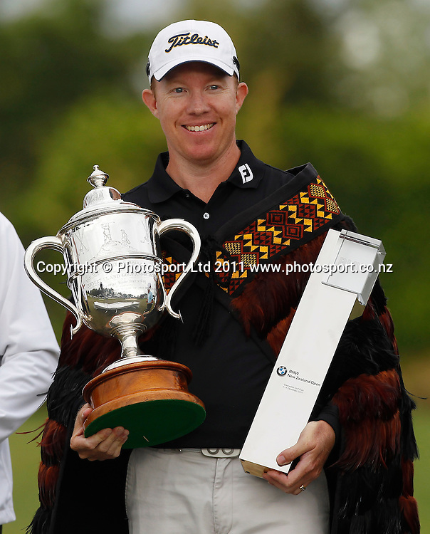 BMW New Zealand winner Brad Kennedy with the Brodie Breeze Cup during the BMW New Zealand Golf Open, Round Four, Clearwater Resort, Christchurch. Sunday 4 December 2011. Photo: Simon Watts / photosport.co.nz