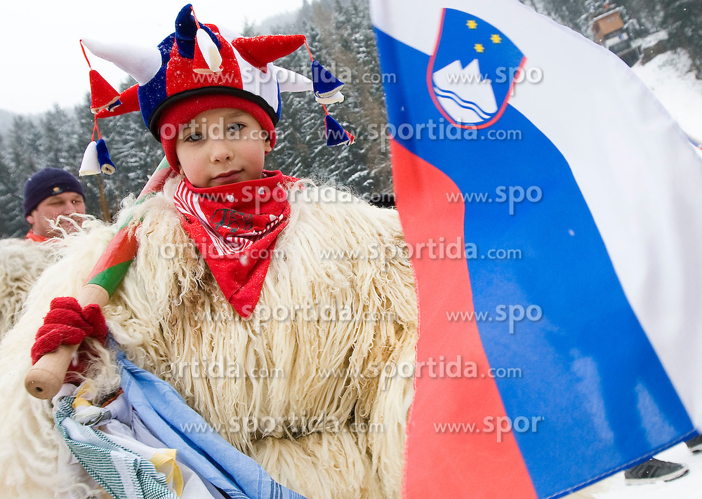 Slovenian fan dreesed in mascot kurent during Normal Hill Individual Competition at FIS World Cup Ski jumping Ladies Ljubno 2012, on February 12, 2012 in Ljubno ob Savinji, Slovenia. (Photo By Grega Valancic / Sportida.com)