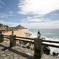 The view from El Farallon, Cliffside grill seafood restaurant at Capella Pedregal Hotel & Resort in Cabo San Lucas, Baja California Sur, Mexico. Beautiful vacation spot.