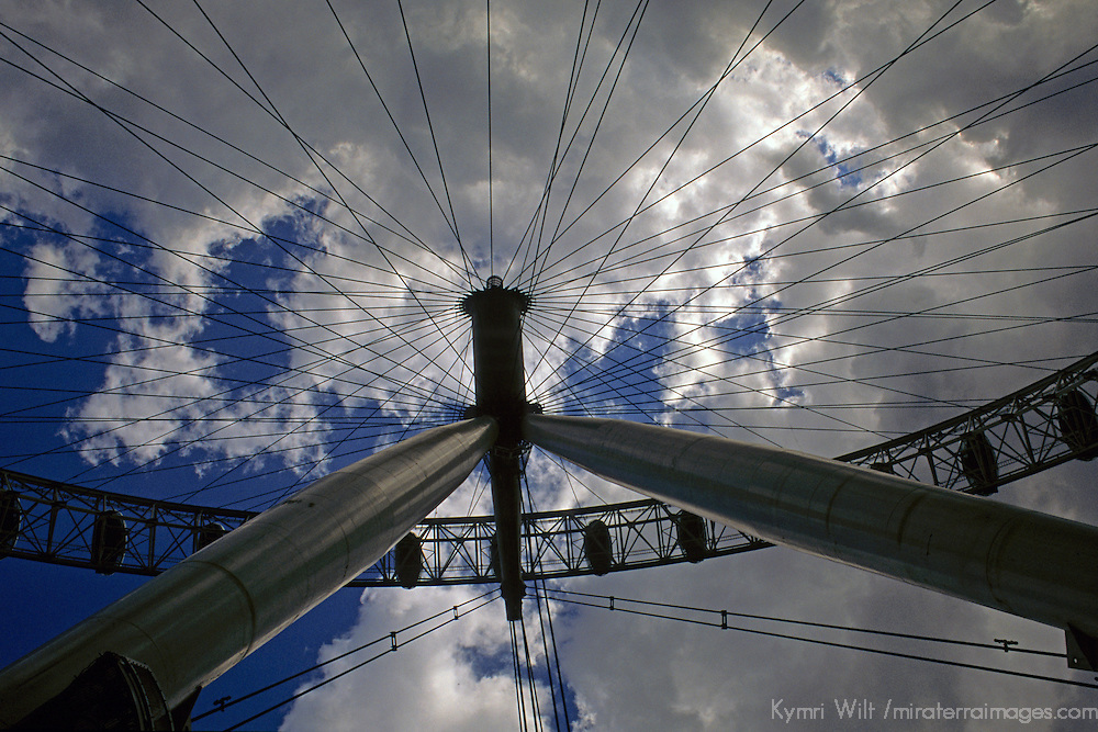 United Kingdom, Great Britain; England; London. Perspective of the London Eye Ferris Wheel.