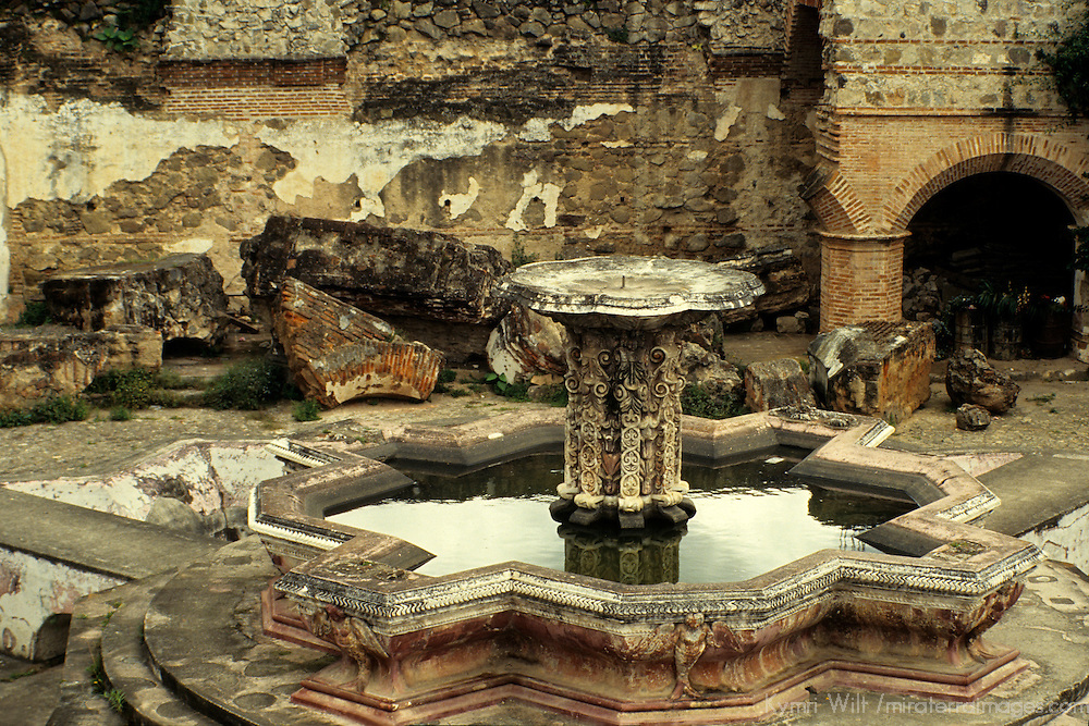 Central America, Guatemala, Antigua. Earthquake damaged courtyard in Antigua.