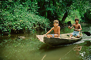 Boys in canoe in a small river in Tropical Rain Forest, Amazon Region, Para, Brazil