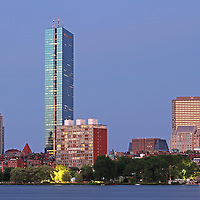 Striking Architecture of the Boston Back Bay photography showing historic and modern architectural marvels and landmarks such as the John Hancock Tower, renamed by Boston Properties as 200 Clarendon, 330 Beacon Street Corporation building, Lenox Hotel, 1 Huntington Avenue, 10 Huntington Avenue also known as The Westin Copley Place Boston Hotel, 77 Exeter Street, Berkeley Building and 500 Boylston Street on a beautiful night at twilight.<br />