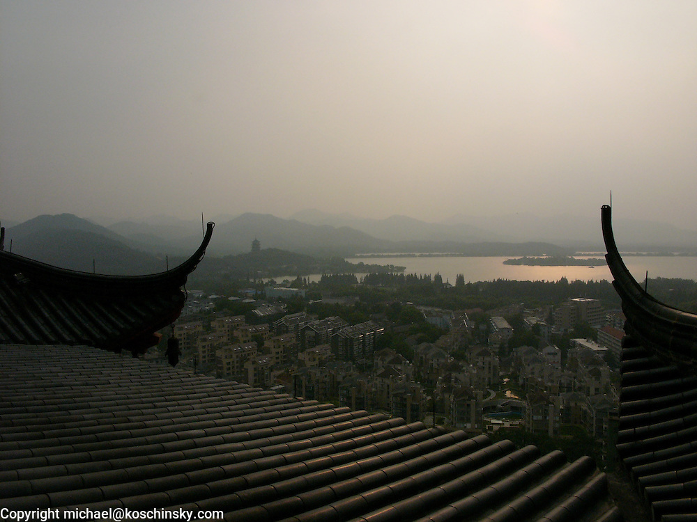 Susnset over West Lake, View from Heavenly Wind over Wu Hill, Hangzhou