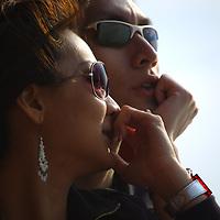 Fashion-conscious young couple in sunglasses, closeup. No model release.