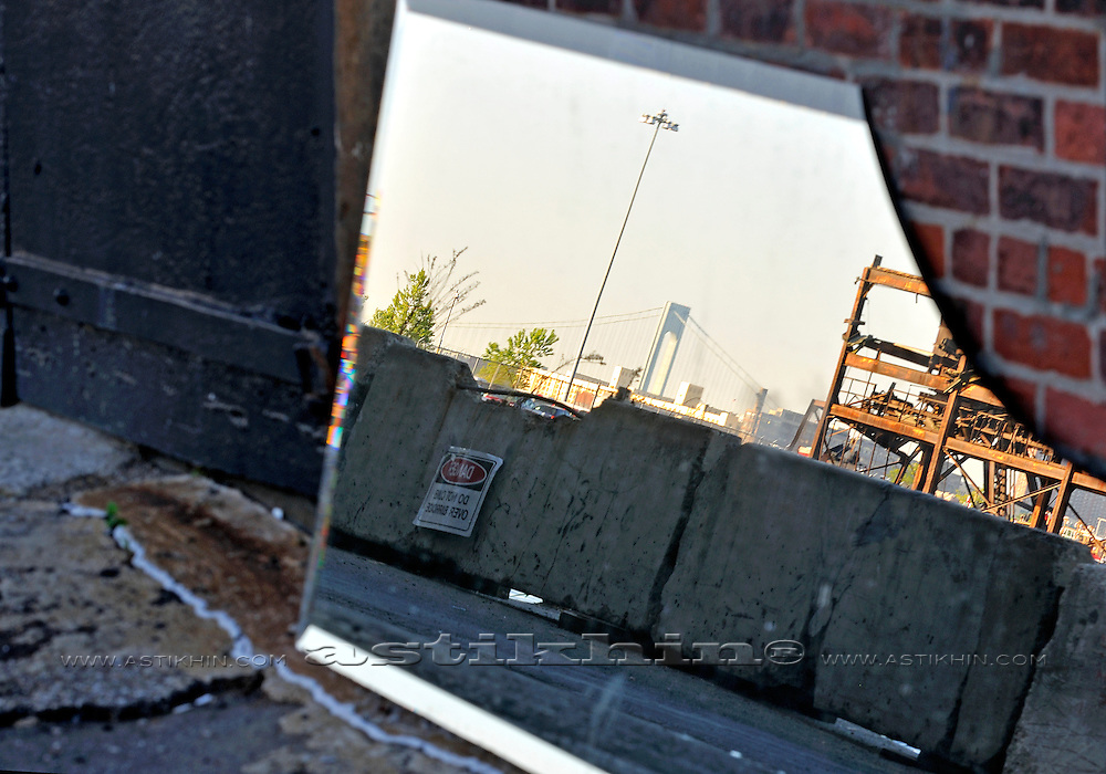 Reflection of Verrazano Narrows Bridge in old Brooklyn