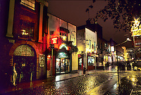 Bars and pubs at night in Dublin, Ireland.