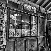 Barn Interior And Old Pane Glass Window View - Eldorado Canyon - Nelson NV - HDR - Infrared Black & White