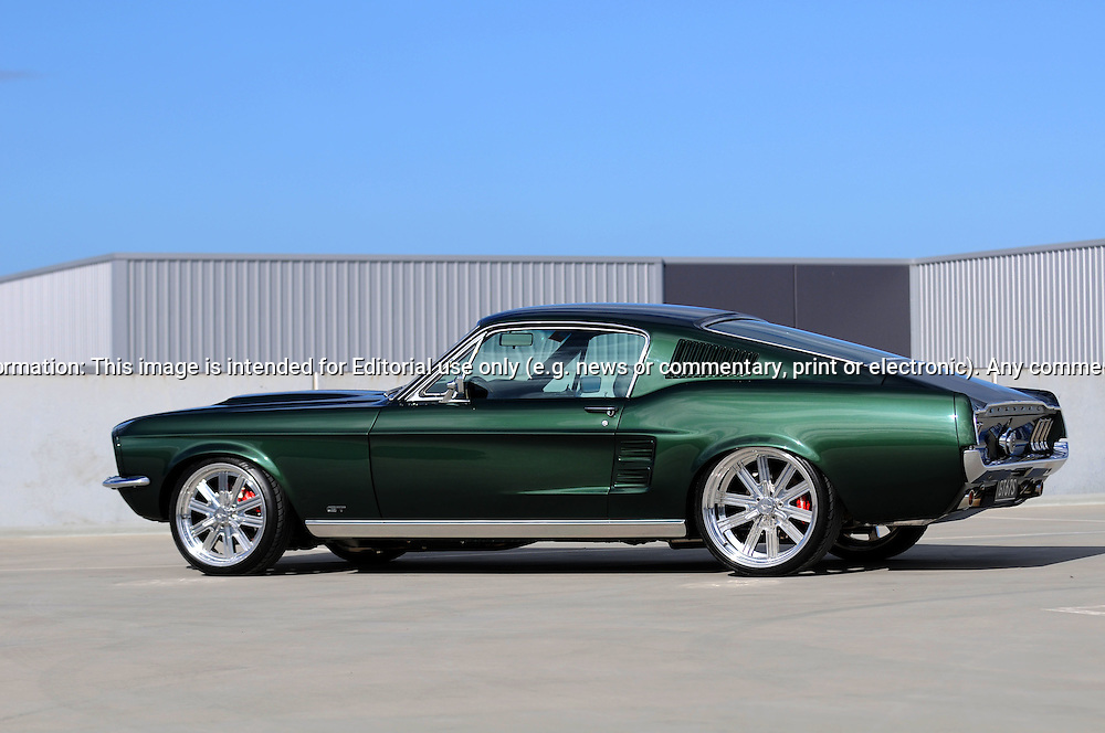 1967 ford mustang gt fastback dark moss greenshot on location at port melbourne - 1967 Ford Mustang Fastback Green