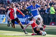ROTTERDAM  - Feyenoord - PSV , eredivisie , voetbal , Feyenoord stadion de Kuip , seizoen 2014/2015 , 22-03-2015 , tackle van Feyenoord speler Jens Toornstra (l) op PSV speler Memphis Depay (r)