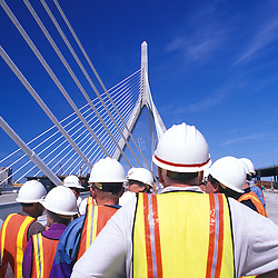 Construction workers on new Leonard P. Zakim-Bunker Hill Bridge, Boston, MA.