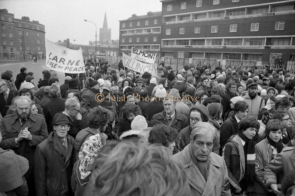 Peace People walk past Kevin St. (Sinn Fein HQ) 08/02/1978
