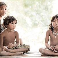 Portrait of a Batak family in Puerto Princesa municipality, Palawan, Philippines
