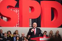 19 MAR 2017, BERLIN/GERMANY:<br /> Martin Schulz, SPD, haelt seine Rede vor seiner Wahl zum SPD Parteivorsitzenden und SPD Spitzenkandidat der Bundestagswahl, a.o. Bundesparteitag, Arena Berlin<br /> IMAGE: 20170319-01-025<br /> KEYWORDS: party congress, social democratic party, candidate, speech