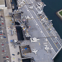Aerial photograph the USS Midway Museum in San Diego California