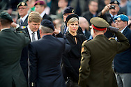 4-5-2015 AMSTERDAM - King Willem-Alexander and Queen Maxima of The Netherlands attend the National Remembrance ceremony at the National Monument on Dam Square in Amsterdam, The Netherlands, 4 May 20145. The ceremony is held to commemorates all civilians and members of the arched forces of the Netherlands who have died in wars or peacekeeping missions since World War II. COPYRIGHT ROBIN UTRECHT<br /> <br /> AMSTERDAM - Koning Willem Alexander en Koningin Maxima tijdens de Nationale herdenking op de Dam. Met twee minuten stilte heeft Nederland maandag om klokslag 20.00 uur de oorlogsslachtoffers herdacht die sinds het begin van de Tweede Wereldoorlog zijn omgekomen. Op de Dam in Amsterdam woonden koning Willem-Alexander en koningin M&aacute;xima de nationale dodenherdenking bij. Het koninklijk paar legde voorafgaand aan de twee minuten stilte een krans bij het monument.  COPYRIGHT ROBIN UTRECHT