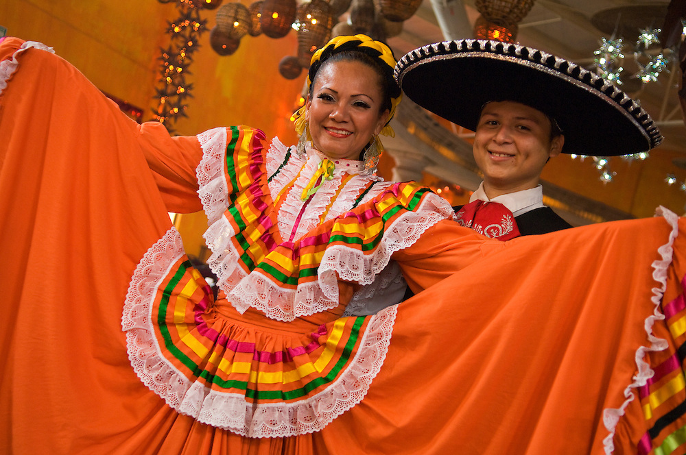Couple in traditional costume of Jalisco at the Spectaculare folkloric show in  Mazatlan, Mexico.