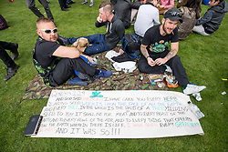 © Licensed to London News Pictures. 20/04/2017. London, UK. Revellers gather in Hyde Park to smoke Cannabis as part of '420 Day', an international event taking place annually on 20 April. Attendees are calling on the Government to legalise the Class B drug. Photo credit : Tom Nicholson/LNP