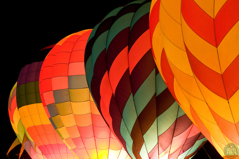 """The Dawn Patrol 1""- These hot air balloons are part of the Glow Show in The Great Reno Balloon Race."