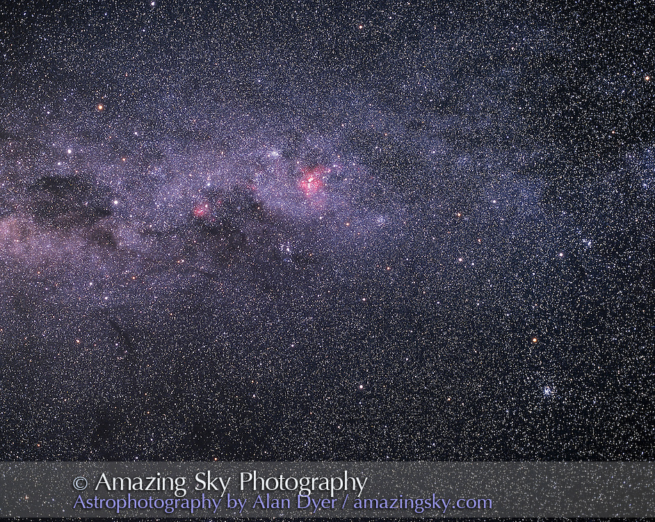 Crux (Southern Cross) and Eta Carina area with Vela to the right, with numerous naked eye star clusters along and just off the Milky Way...Pentax 67 camera with 90mm lens at f/4 with Fujichrome 400F slide film. About 15 minutes exposure. Tracked but not guided. Taken from near Ceduna, South Australia in December 2002.