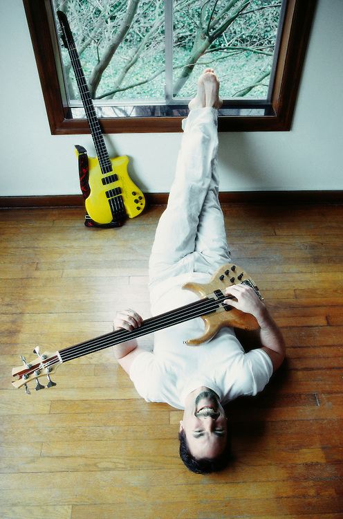 A portrait of bass player Mark Palmer in my studio on Queen Anne Hill, Seattle, Washington 2000.