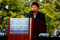 October 1, 2008; New York, NY, USA;  Manny Pacquaio, the #1 pound for pound fighter in the world, speaks at the press conference announcing his December 6, 2008 fight against Oscar De La Hoya.  The two fighters will meet at the MGM Grand Garden Arena.