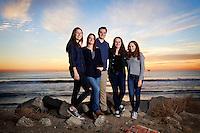 2 January 2016:  Scott, Lisa, Jessica, Kevin Wellman. Isabel, Sylvie and Sasha King. Family photo session Huntington Beach, CA.