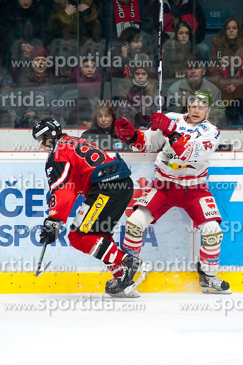 28.12.2015, Ice Rink, Znojmo, CZE, EBEL, HC Orli Znojmo vs HCB Suedtirol, 36. Runde, im Bild v.l. Libor Sulak (HC Orli Znojmo) Stephen Saviano (HCB Sudtirol) // during the Erste Bank Icehockey League 36nd round match between HC Orli Znojmo and HCB Suedtirol at the Ice Rink in Znojmo, Czech Republic on 2015/12/28. EXPA Pictures © 2015, PhotoCredit: EXPA/ Rostislav Pfeffer