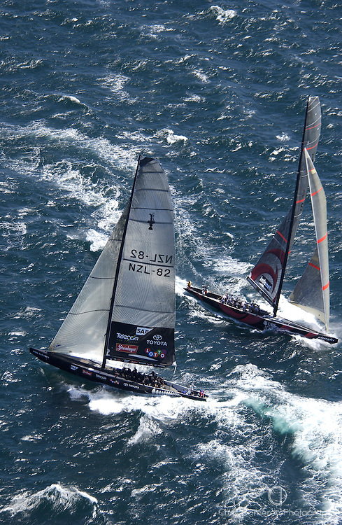 Team New Zealand and Alinghi dial up in the pre start for race one of the America's Cup 2003 (© Chris Cameron 2003)