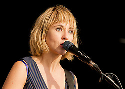 © Licensed to London News Pictures. 11/08/2013. Newquay, UK. Rhiannon Bryan of The Joy Formidable performs on stage at the Boardmasters Festival. Photo credit : Ashley Hugo/LNP