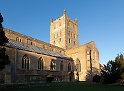 Exterior of south and west facing facade of Tewkesbury Abbey