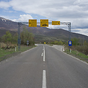 Road signs to the now closed border crossing to Greece, FYR Macedonia