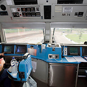 The Ghan.  The Train Driver's cabin aboard the Ghan at Darwin train station, Northern Territory, Australia.