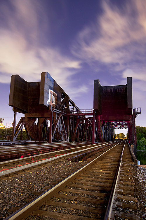 The Pennsylvania Railroad Eight Track Bridges span the Chicago Sanitary and Ship Canal near Western Ave and 31st St in Chicago, IL. This historic bridges were built in the early 1900s and have been designated a Chicago Landmark.