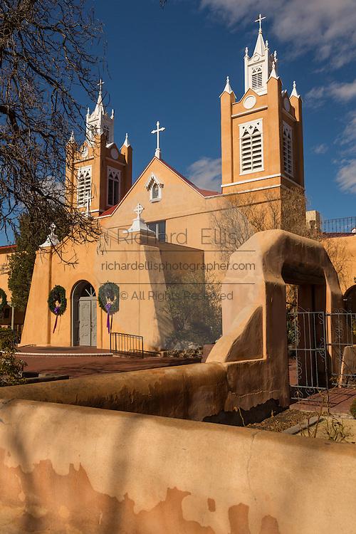 San Felipe de Neri Church historic adobe style Catholic church in the Old Town Plaza December 14, 2015 in Albuquerque, New Mexico.