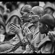 """Buddhist monks offer prayers during ceremonies Monday, June 4, 2012,  at Wat Dhammakaya on the outskirts of Bangkok, Thailand.  Buddhist monks and the faithful gathered at temples throughout Thailand to celebrate Visakha Bucha or simply """"Vesak"""" which is a holiday celebrating the birth,.life, enlightenment, and passing of Gautama Buddha, the founder of Buddhism."""