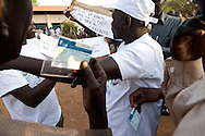 Crowds line up at the Garang Musuleum for the first day of voting for Southern Sudan's referendum for separation on Jan. 9. 2011 in Juba.
