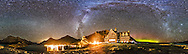 A 360&deg; panorama of the Milky Way and night sky taken at the Prince of Wales Hotel in Waterton Lakes National Park, Alberta, Canada. I shot this Sept 21, 2014 on a very clear night with a faint aurora appearing to the north (behind the hotel). The panorama documents the extent of lighting in the area. The Hotel itself was closed and so was dark. Taurus and the Pleiades are rising at right. At left is the faint glow of Gegenschein amid the Zodiacal Band across the dim area of the autumn sky.<br /> <br /> This is a stitch of 8 segments, each shot with the 15mm full-frame fisheye lens, for 1 minute at f/2.8 and with the Canon 6D at ISO 5000. I used PTGui to stitch the segments, with this version being an equirectangular projection.