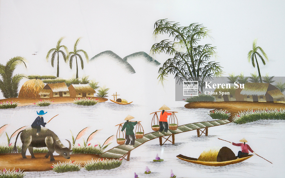 Embroidery depicting Vietnamese lifestyle.
