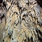 """Stalactites cling to the ceiling of Schmidt Hall (Schmidlova dvorana), the natural cave entrance which emerges into the collapsed Velika Dolina (Big Doline, a sinkhole), at Skocjan Caves (Skocjanske jame) Regional Park, Slovenia, Europe. Archaeological finds in the adjacent Tominceva Cave (Ozka spilja) indicate human occupation here from 3000 BC to 1700 BC. Modern tourism began in Skocjan Caves by 1819. Skocjan Caves feature a river raging through one of the world's largest caverns, waterfalls, speleothems (cave formations such as dripstone: stalactites and stalagmites), and twisty paths through eleven chambers over six kilometers. The underground walk over Cerkvenik Bridge 50 meters above the rushing Reka River takes your breath away in the huge Martel's Chamber (Martelova dvorana), the highest cave hall in Europe (60 meters wide and 140 meters deep, which looks bigger in the dim lighting). From a large-scale karst drainage, the Reka River has carved and dissolved dramatic subterranean passages through limestone over several million years. Karst topography is a geologic formation of dissolving bedrock. Our word for """"karst"""" likely evolved from the Slovene noun kras and earlier proper noun Grast, referring to Slovenia's Karst Plateau. Skocjan Caves are near Divaca, in the Littoral region of the Republic of Slovenia. UNESCO has listed Skocjan Caves as a World Heritage Site."""