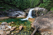 Lower Falls summer water levels at Golden Ears Provincial Park in Maple Ridge, British Columbia, Canada.