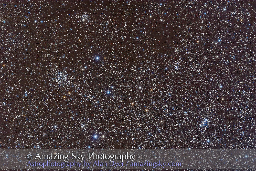Clusters in Cassiopeia: upper left: NGC 654; middle left: NGC 663; lower left: NGC 659; lower right: M103.
