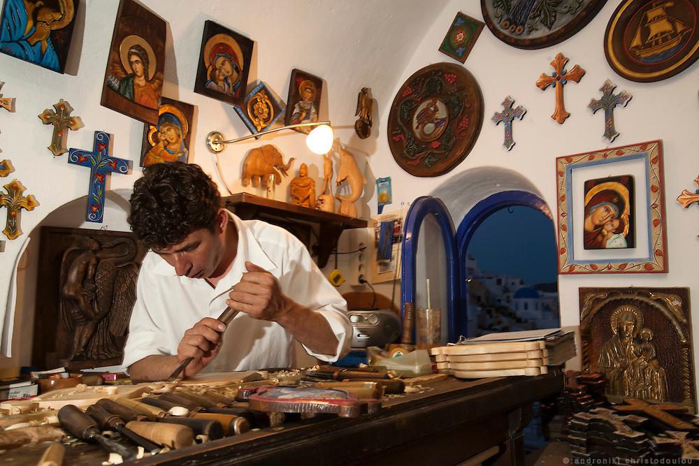 Traditional wood craftman in Oia, Santorini. Greece.
