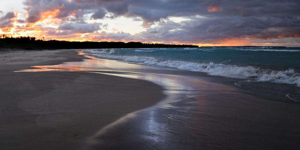 The last few minutes of stunning sunset light on Good Harbor Bay.<br /> <br /> Sleeping Bear Dunes National Lakeshore, Michigan