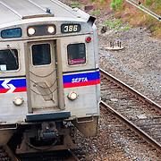 USA, Pennsylvania, Philadelphia. A SEPTA commuter train in downtown Philadelphia.