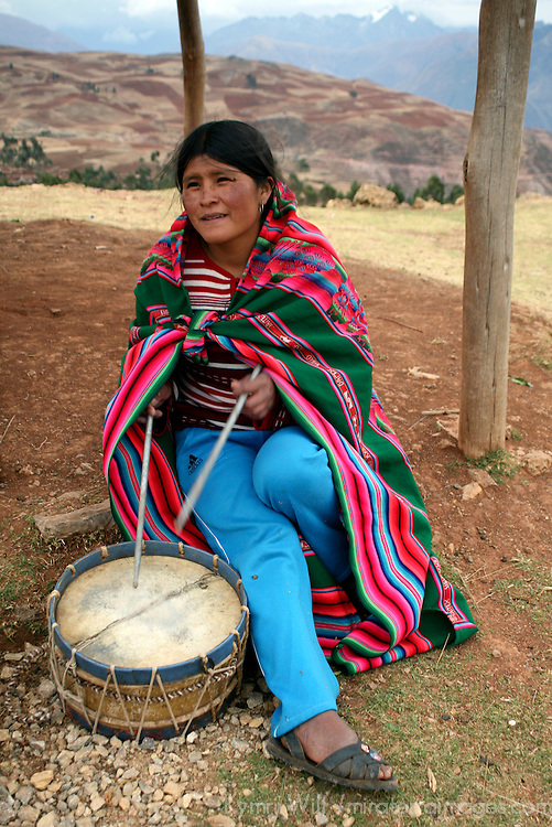 Americas, South America, Peru, Urubamba. Native Quechua local with drum.